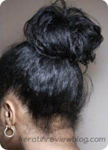 Frizzy high bun with old hair